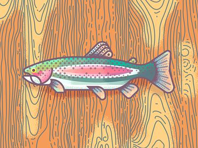 Rainbow Trout Revisit: Texture grain wood fish retrosupply illustration texture trout rainbow
