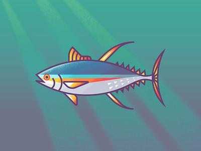 Tuna Revisit: Texture retro supply colorful gradients line art underwater fishes illustration ocean fish tuna