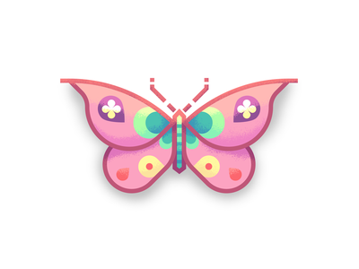 Lia's Fancy Butterfly pink bug retro supply co texture illustration insect butterfly