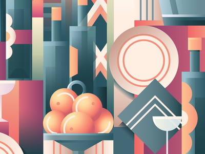 WIP: Elesz Kiervicz sketch to vector glass bottles wine adobe illustrator vector resturant plate fruit orange gradient illustration