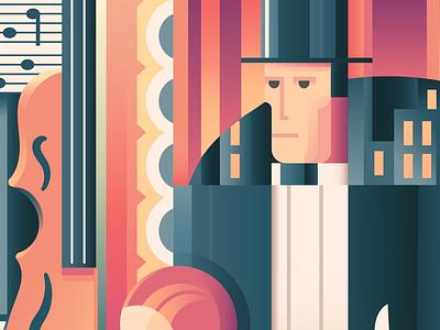 WIP: Elesz Kiervicz sketch to vector suits art deco work in progress wip suit top hat city restaurant music instrument bass illustration