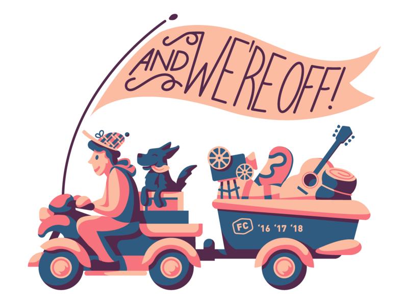 Fresh Coast Film Festival Branding 2019 illustrations flag outdoors music film adventure travel and were off dog branding illustration