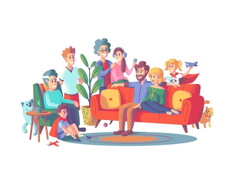 Family Gathering illustrations retro supply family portrait texture photoshop illustrator illustration people illustration people family