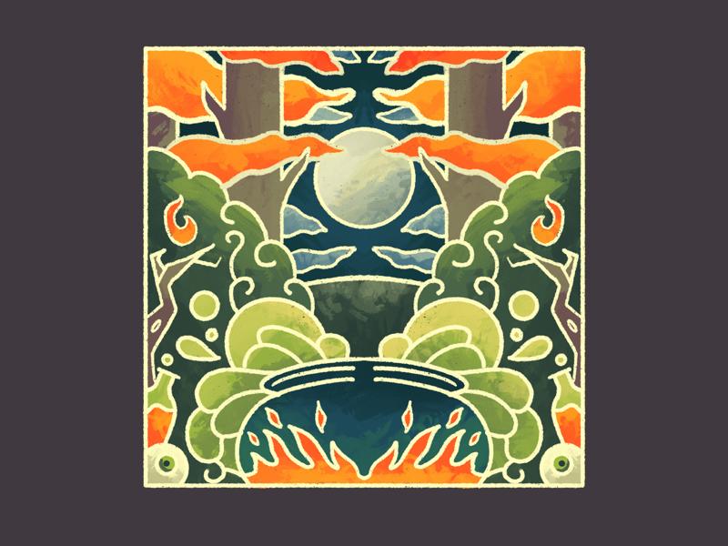 Enchanted (Inktober day 08) halloween october full moon cauldron symmetry illustration procreate inktober enchanted