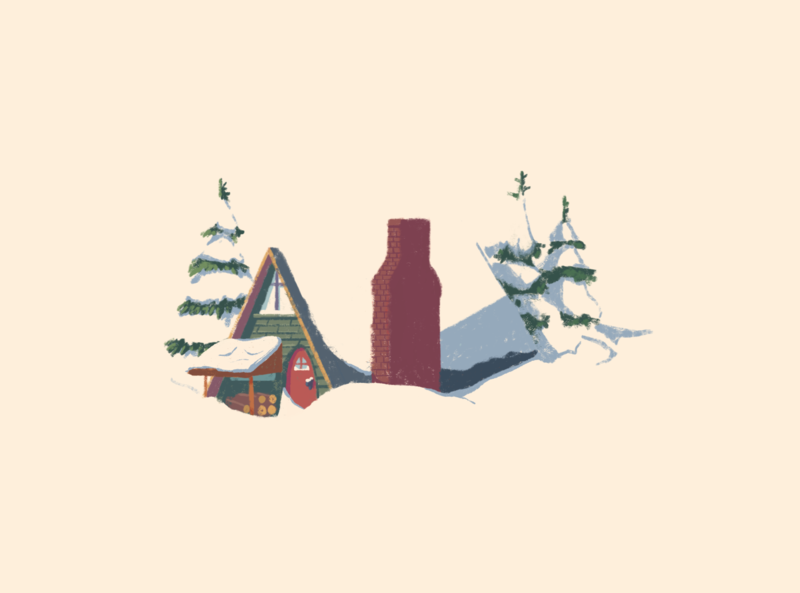 Snow (Inktober Day 11) procreate painting illustration cozy pines negativespace cabin winter snow