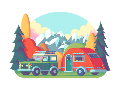 Our Belongings camping forrest mountain retro supply adobe photoshop adobe illustrator illustration art rv trailer camping van camper range rover illustration