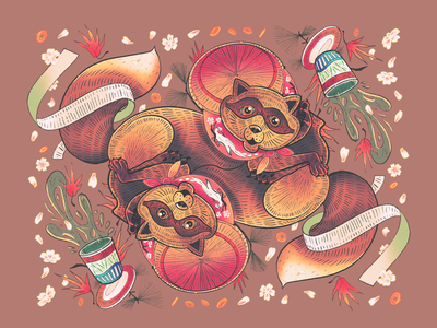 Tanuki cherry blossoms japanese artwork symmetry illustration procreate raccoon tanuki
