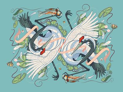 Red Crowned Cranes dry ink brush illustration procreate symmetry fishing fish koi fish lilypads lilypad koi crane