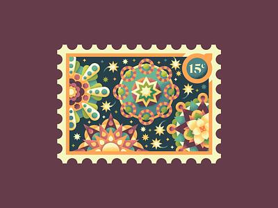Christmas Stamps: Giant Lantern Festival stamp design celebration texture illustrator stamps christmas lanterns retro supply illustration stamp