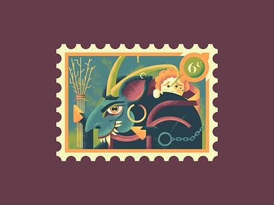 Christmas Stamps: Krampus illustrations photoshop illustrator stamp christmas art texture retrosupply illustration krampus