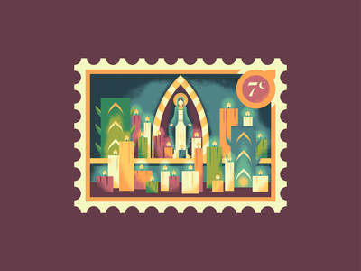 Christmas Stamps: The Day of the Little Candles retro supply christmas stamp illustration texture catholic virgin mary candles