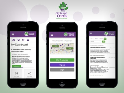 Pittsburgh Cares Mobile Web App dashboard map ui mobile