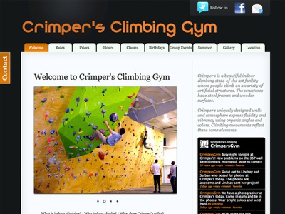 Crimper's Climbing Gym website