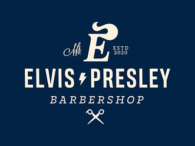 Elvis Presley sign letter lettering logodesign symbol logotype logo hairstyle barbershop