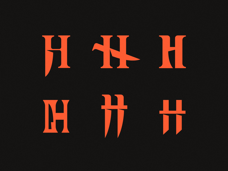 H - Horror letter mark symbol logodesign logotype sign icon logo knife dagger horror h