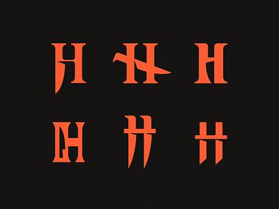 H - Horror letter mark symbol logodesign logotype sign icon logo knife dagger horror h