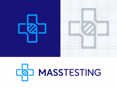 MASSTESTING cross genetic medicine symbol logodesign logotype logo heart sign icon covid covid-19 test testing