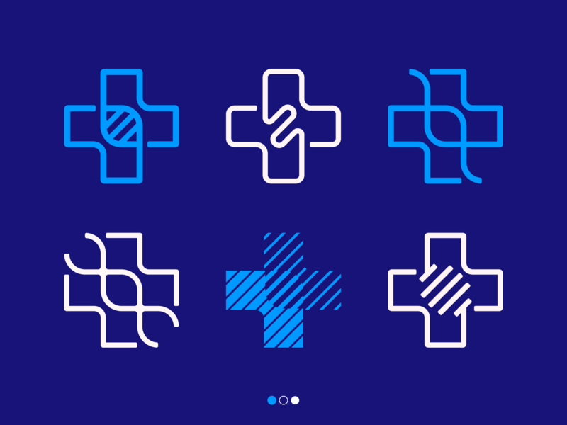 cross + genetic medical plus doctor life logodesign logotype sign icon logo cross