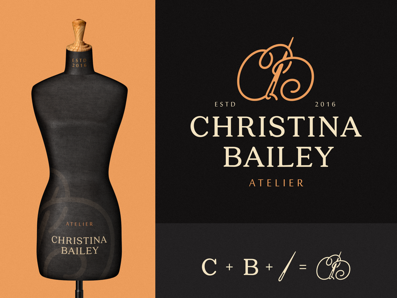 Christina Bailey seamstress plexus fabric cb atelier needle letters emblem monogram symbol logodesign logotype sign icon logo
