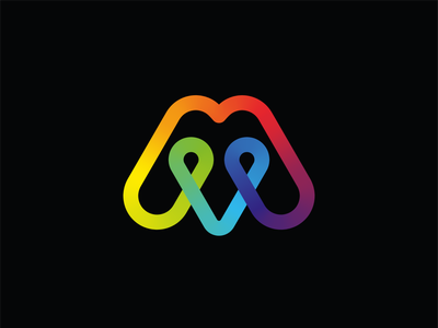 M + pin color gradient emblem symbol logodesign logotype sign icon logo letter m letter m