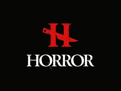 Horror monogram letter symbol logodesign logotype sign icon logo knife die h horror