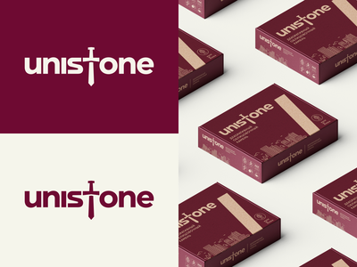 Unistone packaging brand sword excalibur wordmark lettering logodesign logotype icon logo package packaging