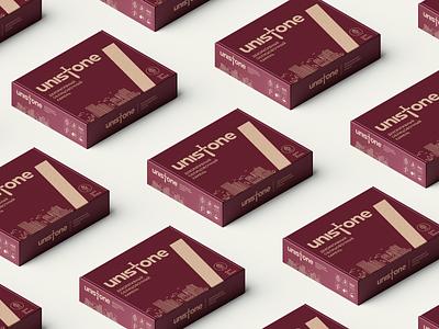 Unistone packaging brand sword excalibur wordmark lettering logodesign logotype icon logo package packaging