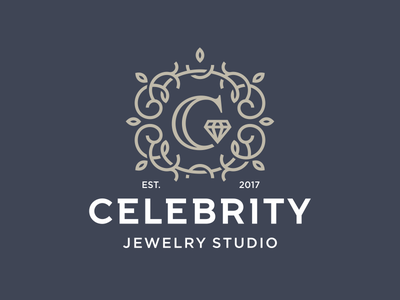 Celebrity  mark emblem sign logo letter с diamont brilliant celebrity studio jewelry