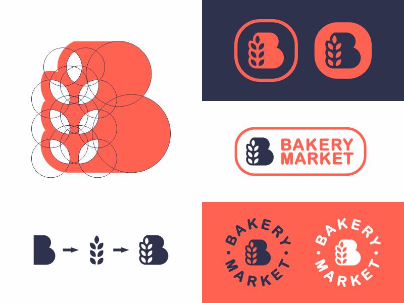Bakery Market sign shop rome logo loaf icon bread bakery