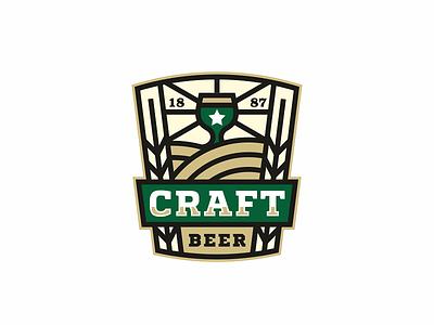 Craft Beer ale bar barlу beer brew brewing craft cup emblem hops logo taps