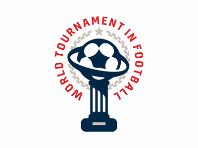 World tournament in football logo star winner cup sport game ball soccer football tournaent world