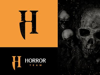 Horror team DONE logotype logo monogram skull terror perdition knife movie horror fear dread die destruction death blood blade