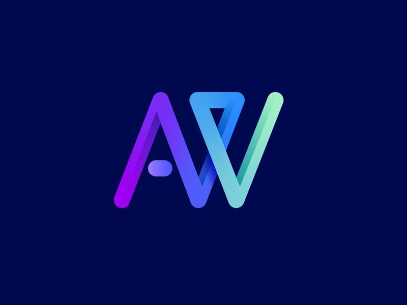 AW logo letter mark monogram modern symbol logomark letter w letter a identity branding agency branding agency studio web abstract logo abstract