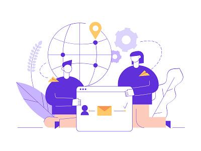 We are hiring flat line woman geometric recruitment hire team illustrator illustration vector minimal characters cartoon people man