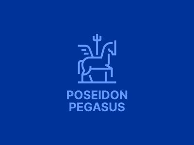 Poseidon Pegasus branding aviation marine consulting trident line logo design logo horse pegasus poseidon