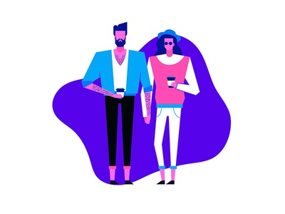 In love with coffee and tattoos people violet pink vector cartoon characters art illustration subcultures coffee tattoos neon colors minimal geometric hat goggles woman man hipsters