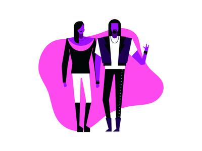 Rock the world 🤘 minimal vector subcultures music violet neon colors characters flat man cartoon illustration devil fingers sign horns metalhead metal couple woman man rocker rock on