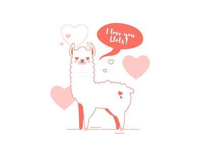 Llama loves you ^^ llamas cartoon white kawaii cute valentine day card i love you pink heart design animal livingcoral living coral line art illustration llots llama love