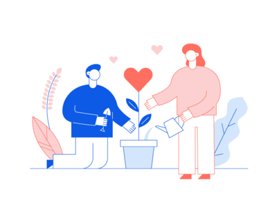 Preparing for Valentine's Day ^^ st valentines day valentine day blue pink living coral big heart romantic couple love flat vector design minimal people characters woman cartoon man illustration