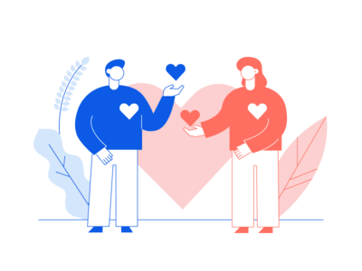 Give me your heart living coral give blue pink valentines romantic heart valentine day st valentines day love flat design vector minimal people characters cartoon woman man illustration