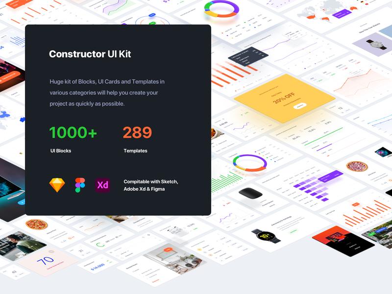 Constructor UI Kit figma sketch adobe xd interface web ux templates download ui kit
