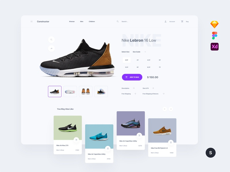 Shoes Store figma sketch kit adobe xd interface template download ui kit