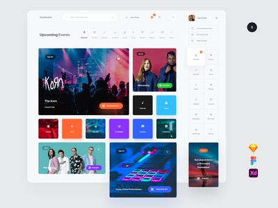 Events psd kit template symbols adobe xd ui kit interface web ui sketch ux