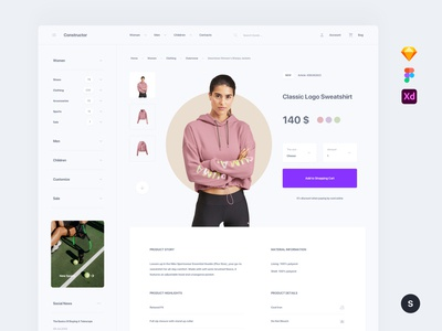 Sport Store Template web ui sketch ux