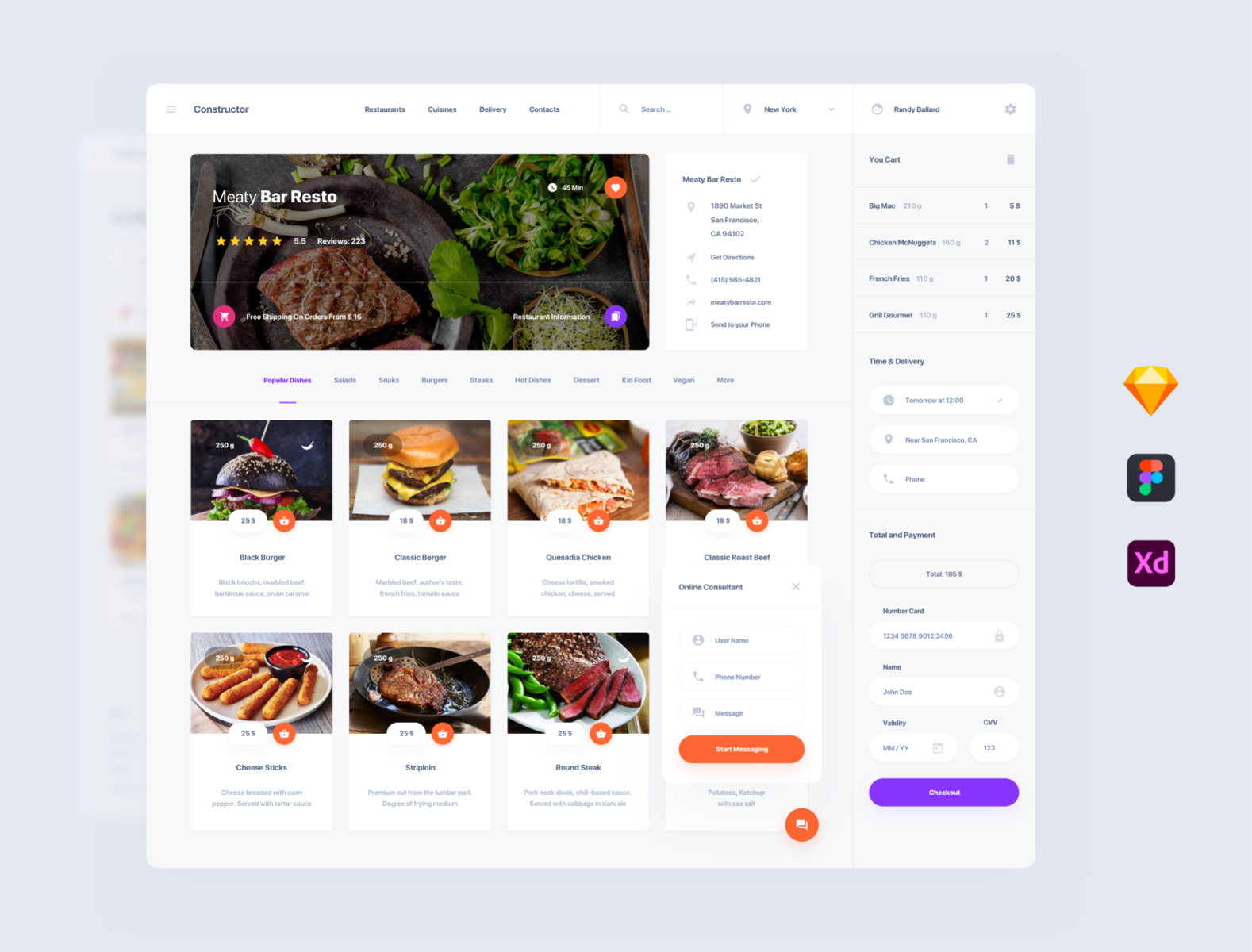 Food Deliver UI dashboards