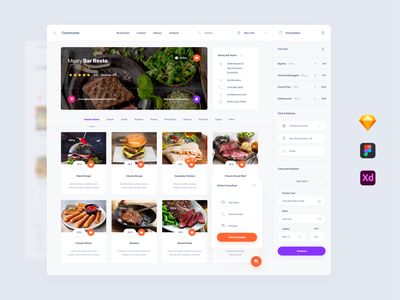 Food Deliver UI dashboards dashboad template symbols adobe xd ui kit interface web sketch ui ux delivery food
