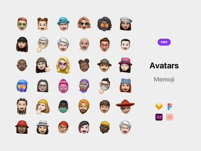 Free Memoji Avatars sketch xd figma gumroad avatars icon avatars avatar memoji freebies freebie free