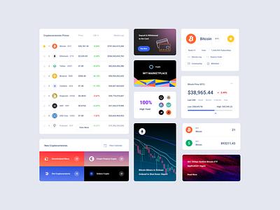 Crypto UI Cards ui kit ui interface dashboard