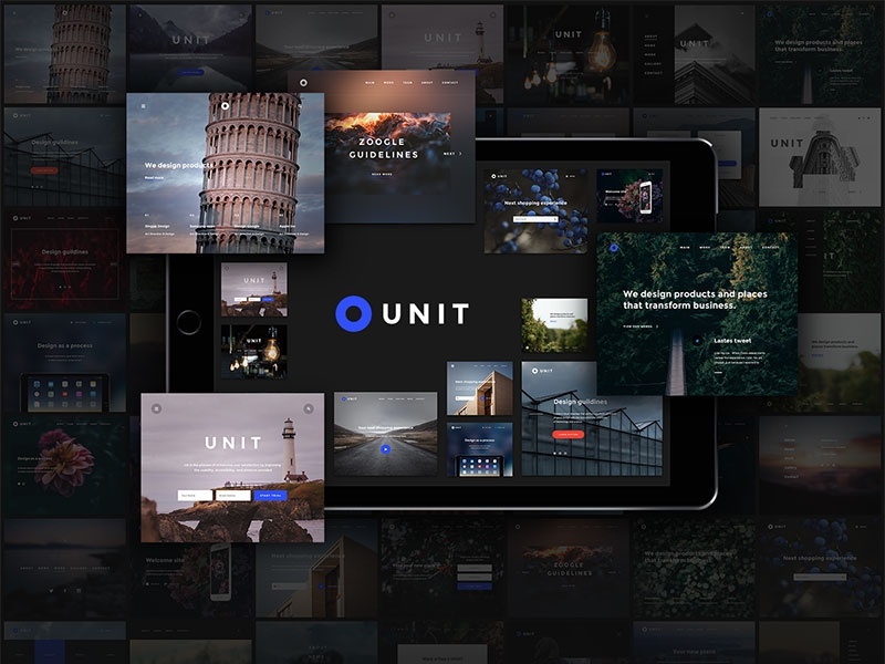Unit Kit site landing page ux ui web psd landing ui kit