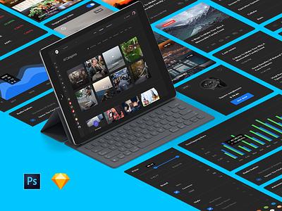 Black Quantum sketch base elements news magazine social dashboard ecommerce ui kit kit quantum ux ui